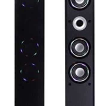 "AR+SOUND AR1004 38"" Bluetooth Tower Speaker With Ambient Blue-LED Lights, Stereo Sound System with Built-In Radio, Docking Station and Remote Control (Black)"