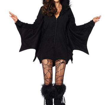 Casual Black Plain Hooded The Vampire Batman Cosplay Halloween Mini Dress