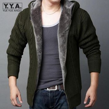 2017 New Arrival Mens Cardigans Sweaters Casual Hooded Zipper Mens Sweaters Winter Warm Thicken Fur Lining Hombre Knitwear
