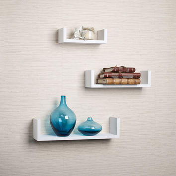 DanyaB Floating 'U' Laminated White Shelves (Set of 3)