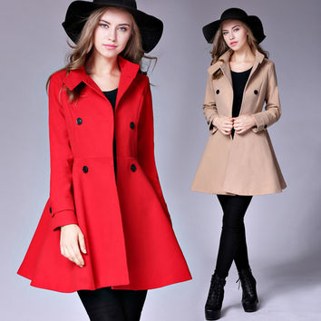 Hot sell wool coat dress 2016 fashion double breasted womens winter coat red solid female vintage overcoat plus size jacket c10