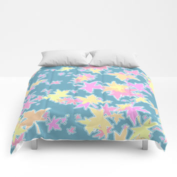 Autumn Leaves in Pastel Comforters by barbara gelman