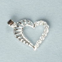 Silver white heart gemstones noble lady's pendant