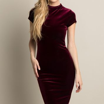 Burgundy-Velvet-Mock-Neck-Fitted-Midi-Dress