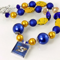 Yellow Jackets Blue and Gold Team Spirit Necklace