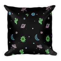 Neon Galaxy Square Pillow