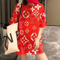 LV Louis Vuitton Summer Newest Women Loose Print Short Sleeve T-Shirt Top Red