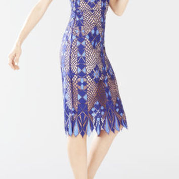 Alese Asymmetrical Geometric Lace Dress - Blue