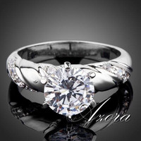 High Quality White Gold plated 2ct Round Cut Cubic Zirconia Rings for woman = 1932570116