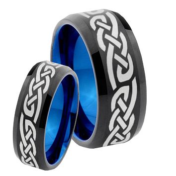 His Hers Celtic Knot Infinity Loves Bevel Tungsten Blue Engagement Ring Set
