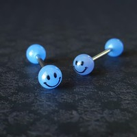 Blue Glow In The Dark Smiley Face Tongue Barbell (14G)