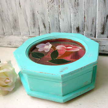 Aqua Vintage Jewelry Box, Teal and Pink Jewelry Holder with Floral Glass, Distressed Jewelry Box, Gift Ideas