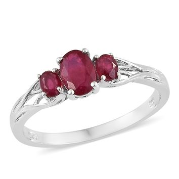 Ruby Platinum Over Sterling Silver Trilogy Ring