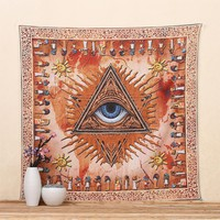 Cilected Sun Orange Indian Mandala Tapestry Eye Decorative Wall Hanging Tapestries Beach Picnic Home Decor Boho Wall Art Blanket