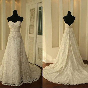 A LINE Lace Vintage Wedding Dress Bridal Gown Bridesmaid Dress Evening Prom Dress