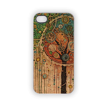 Woodland Tree Party iPhone Case 5 4S 4 Painted Boho Cottage Chic Whimsical Nature Theme With Pastels Trees Circles Streamers