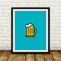 Beer Icon - Drinks Series, Wall art decor, Printable illustration, Digital print poster, Instant download.