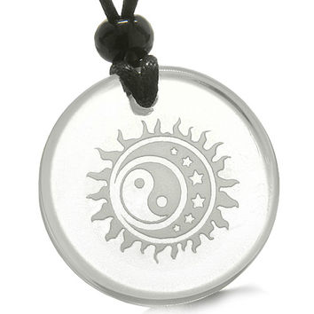 Amulet Sun Moon Stars Triple Magic Yin Yang Positive Powers Quartz Pendant Necklace