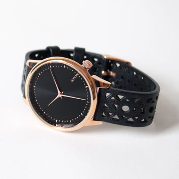 Estelle Cutout Black Rose Watch