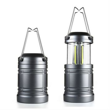3W Super Bright Collapsible COB LED Waterproof Camping Light Lamp Gray