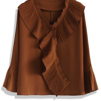 Pleated Frills Crepe Top in Tan