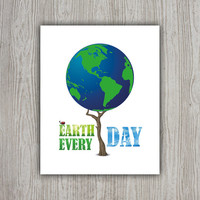 Earth Day Environmentalist Nature Poster, Ladybug Print, Green Wall Decor, Tree Poster, Environment Ladybug Wall Art, INSTANT DOWNLOAD