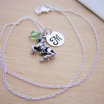 Equestrian Horse Charm Swarovski Birthstone Initial Personalized Sterling Silver Necklace / Gift for Her