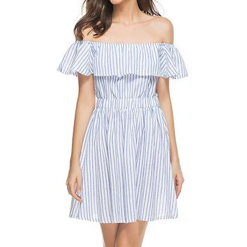 Summer Stripes Hollow Out Backless Slim One Piece Dress [126556209181]