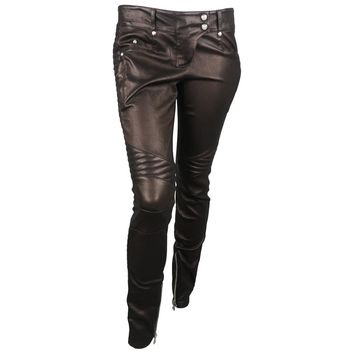 Balmain Black Quilted Stretch Leather Skinny Motorcycle Pants