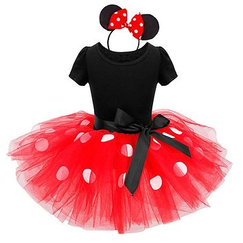 Baby girl Party Costume Ballet Kids Tutu mesh dress romper Dance Leotard jumpsuit hairband set Polka Dot Bowknot overalls