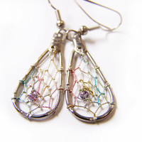 Vintage Colorful Silver tone Dreamcatcher Dangle Post Earrings / Gift for Her / I334