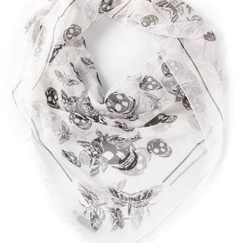 Alexander McQueen skull and moth print scarf