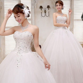 Charming wedding dresses Princess Bride Wedding Dress straps new 2015 Pearl Wedding white bridal gown = 1929353476