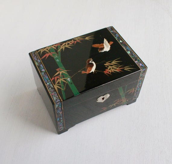 Vintage Asian Jewelry Box Retro Enamel From Maejean Vintage