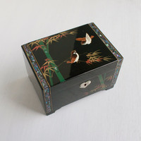 Vintage Asian Jewelry Box - Retro Enamel Musical Hand Painted Box - Red Lined Oriental Japanese Chest