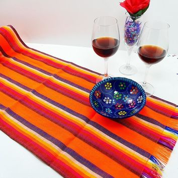 Mexican Table Runner, Mexican Wedding Decorations - Orange Stripes, 14X72TRC104