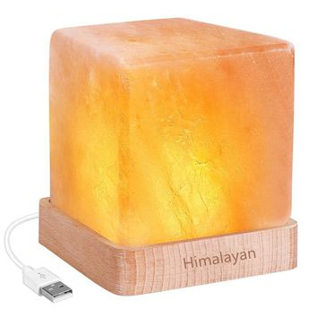 LED Night Light USB rechargeable Himalayan Salt Lamp Air Purifier Crystal Salt Rock Night Lamp For Office Desk Bedside Bedroom