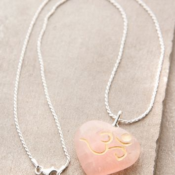 Rose Quartz Om Necklace