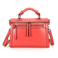 Leather Structured Doctors Bag Across Body Tote Bag w/ Removable Shoulder Strap-Watermelon Red from KissBags