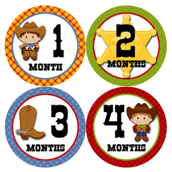 Baby Boy Monthly Milestone Age Stickers Style #340