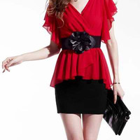 Red Ruffled V-Neck Chiffon Dress