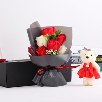 Valentine's Day Cartoon Stitch Bouquet + Soap Rose Bear Doll Toys Festivals Gift With Luxury Gift Box
