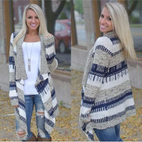 Multi-color Long Sleeve Knitted Cardigan Sweater
