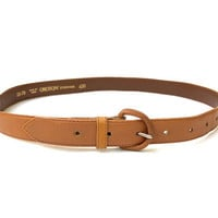 OROTON!!! Vintage 1980s 'Oroton' tan leather waisted belt with leather clad buckle