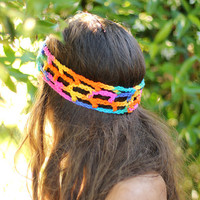 Rainbow Crochet Hippie Headband by mademoisellemermaid on Etsy