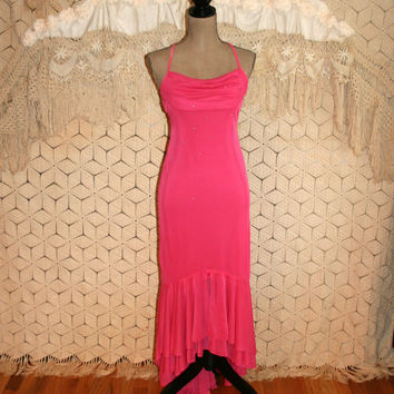 Vintage 80s Hot Pink Prom Dress Mermaid Dress Sexy Party Dress Spaghetti Straps Rhinestones Fish Tail Size 4 Size 6 Small Womens Clothing
