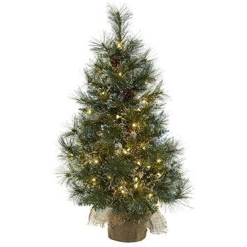 Artificial Tree -3 Foot Christmas Tree Clear Lights Frosted Tips Pine Cones