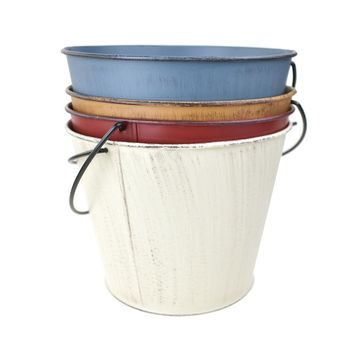 Distressed Rustic Metal Pail Buckets, Assorted Colors, 6-1/4-Inch