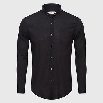 Solid Plain Mandarin Chinese Half Collar Cotton Long Sleeve Shirts