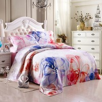 Red Blue and White Classic Abstract Flower Noble Excellence 100% Mulberry Silk Full, Queen Size Bedding for Girls - EnjoyBedding.com